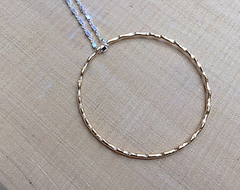 24k gold plated wavy textured circle pendant necklace on sterling silver cube chain, mixed metal