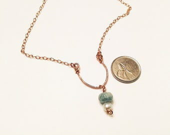 14k Rose gold fill  horseshoe shaped pendant necklace, aquamarine and pearl, on 14k rose gold chain