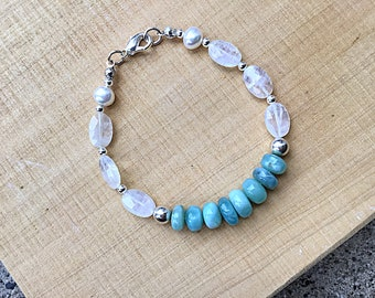 Natural Larimar smooth rondelles, rainbow moonstone ovals and sterling beads with 2 flat back pearls bracelet