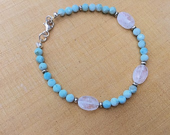 Genuine 4mm ocean blue larimar beaded bracelet with rainbow moonstone ovals and tiny Karen Hill Tribe imprint seed beads