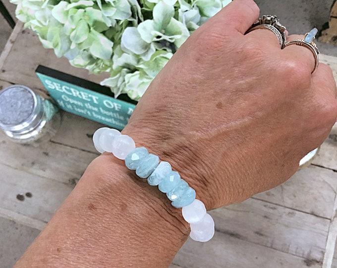 High grade aquamarine rondelles and selenite bracelet