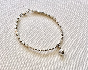 Karen Hill Tribe Silver faceted barrel and tiny faceted beaded bracelet with sterling heart charm