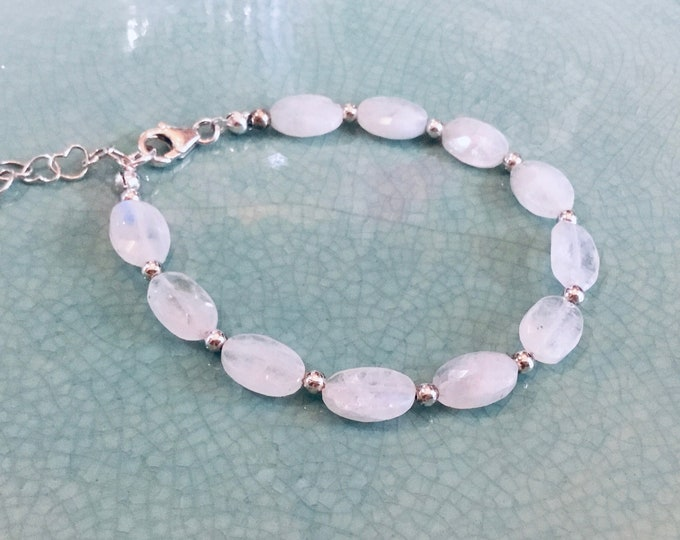 High grade rainbow moonstone ovals beaded bracelet with sterling spacers