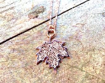 14k Rose gold vermeil over 925 sterling maple leaf pendant necklace