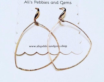 14k gold fill large freeform geometric sparkle textured earrings, thin, hammered, minimalist