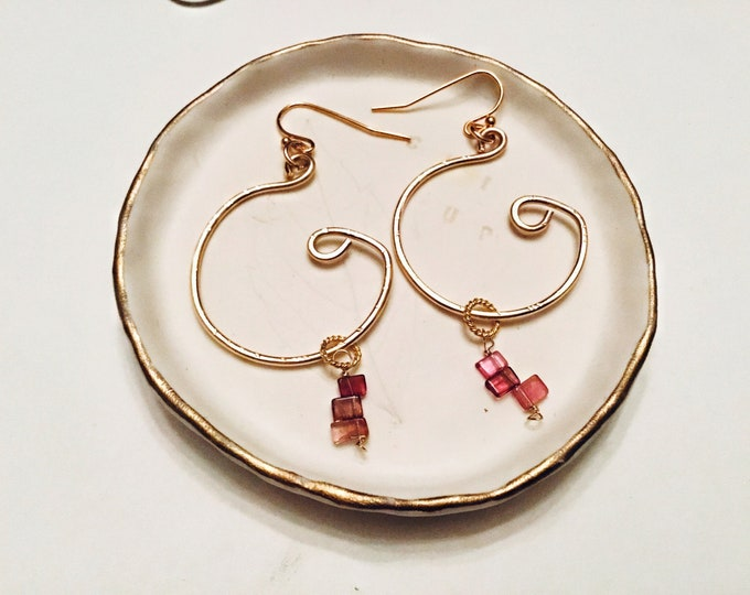 Featured listing image: Natural Watermelon tourmaline slices earrings , 14k Gold fill wire, swirly circle hoop earrings, thin