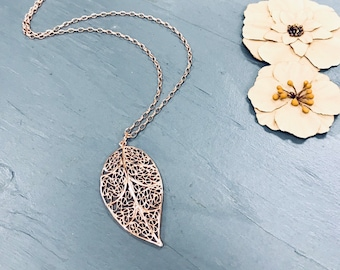 Rose gold filagree leaf, pendant necklace, long, on rose gold rolo chain