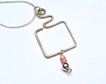 Sterling silver hammered freeform square pendant necklace, pink rhodochrosite charm, on silver plated chain