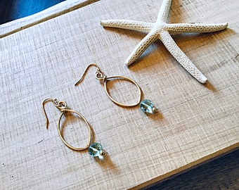 14k gold fill marquis textured earrings with green amethyst quartz coins, hammered, thin