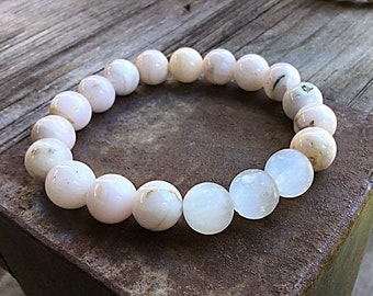 Pink mangano calcite 10mm high grade beaded bracelet with 3 selenite feature beads, stacking