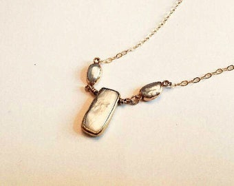 Rectangular pearl pendant in electroplated gold necklace, 2 freeform freshwater pearl connectors
