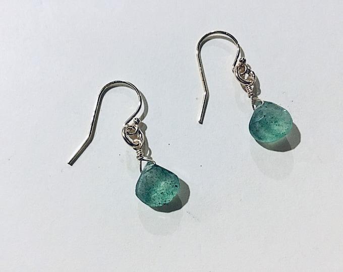 Green strawberry quartz heart briolette earrings on 14k gold fill ear wires