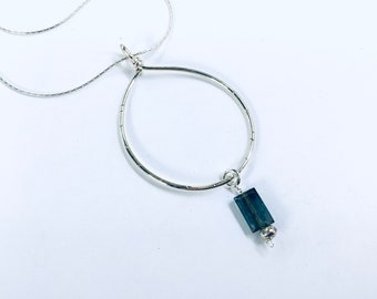 AAA moss blue kyanite baguette on sterling circle pendant necklace, textured, silver plated snake chain