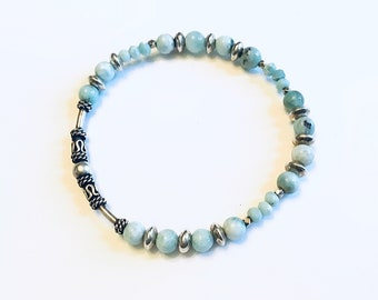 7mm Larimar beaded bracelet with sterling tube bead and rondelle beads