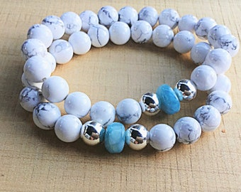 Genuine Larimar smooth rondelle beaded bracelet with howlite and silver plated beads