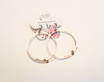 14k gold fill hammered large overlapping circle hoop earrings on 10k gold plated ear wires