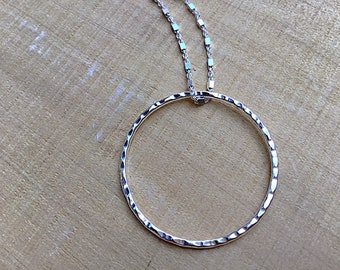 Sterling silver circle pendant necklace, textured on sterling cube chain