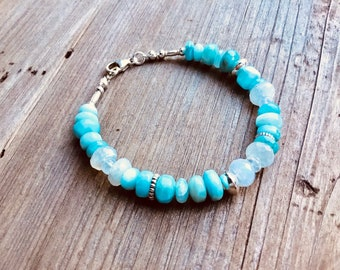 Larimar smooth rondelles, rainbow moonstone rondelle beads, Karen Hill silver, sterling mix bracelet