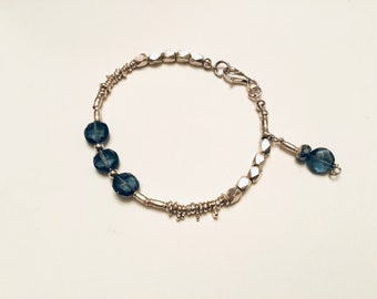 London blue quartz coin charm bracelet with Karen Hill Tribe faceted barrell mix and irregular beaded bracelet