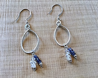 Kyanite and moonstone rondelles on sterling teardrop earrings, textured, double charms