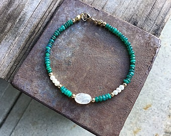 Teal green fire opal and freshwater pearls bracelet with moonstone pebble bead and 14k gold fill tiny beaded bracelet