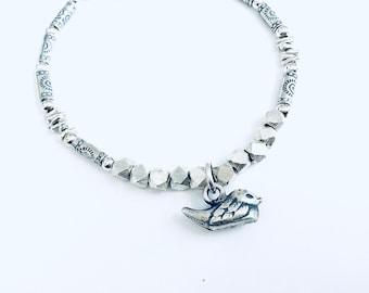 Karen Hill Tribe mix beaded bracelet , faceted hexagon, irregular, imprint tube beads with Karen Hill Tribe bird charm