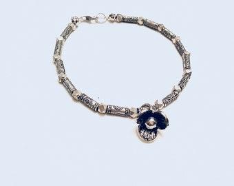 Karen Hill Tribe silver beaded bracelet, tiny, hexagon and imprint tube beads, karen hill flower charm