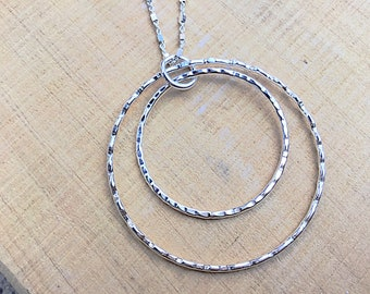 Sterling silver double circle pendant, textured on sterling cube chain