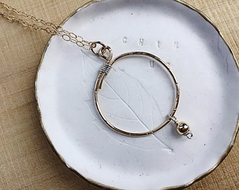 14k gold fill overlapping circle pendant necklace, sterling wire wrap, gold bead charm, textured, on 14k gold textured cable chain