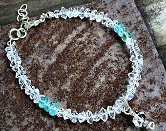 Herkimer diamond and amazonite rondelle bracelet herkimer charm, april birthstone
