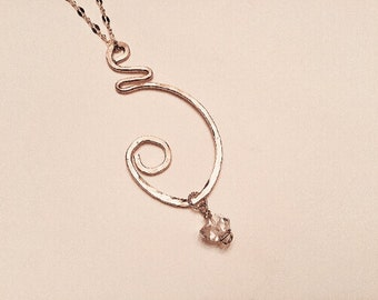 Herkimer diamond, 14k gold fill large freeform pendant necklace, hammered, solitaire, april birthstone