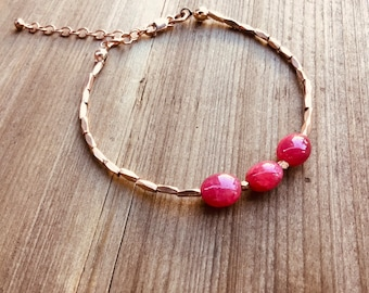 Ruby smooth ovals and Karen Hill Tribe rose gold vermeil faceted tiny beaded bracelet
