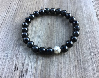 Black obsidian men's beaded bracelet, 925 sterling diamond cut accent bead