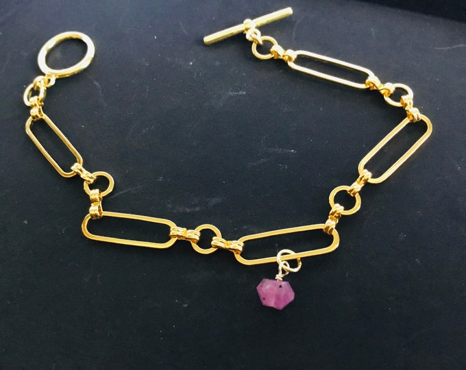 Pink sapphire charm bracelet on gold fill infinity paperclip chain, toggle clasp, chunky, elongated