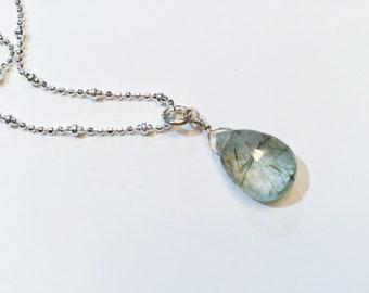 925 Silver Necklace with Rutil Quartz Pendant Horn TRUTH
