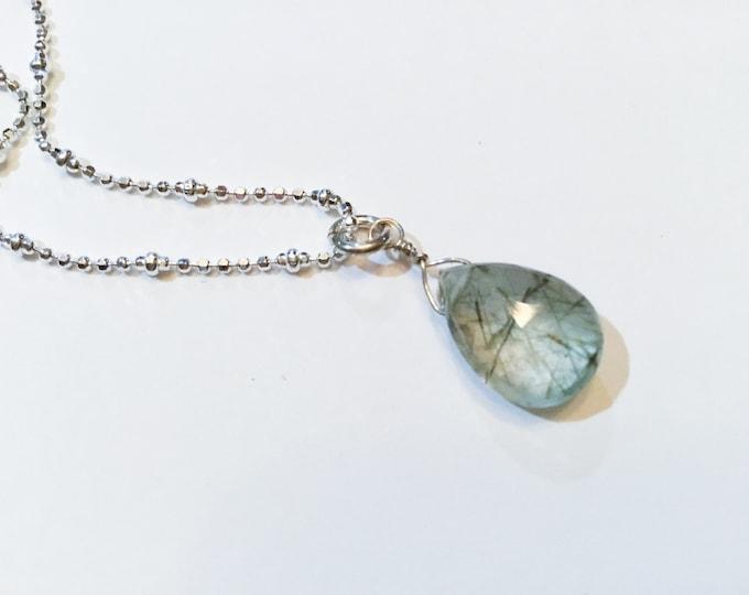 Green rutilated quartz teardrop pendant necklace on diamond cut sterling satellite ball chain, minimalist, layering