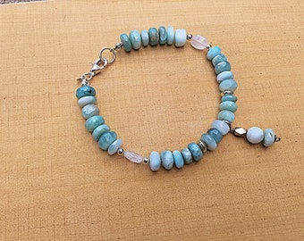 Natural Larimar smooth rondelles, moonstone pebble bracelet with sterling mix, charm