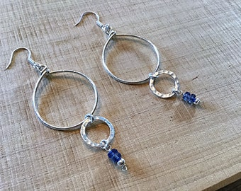 Sterling double circle earrings with Kyanite rondelles, textured