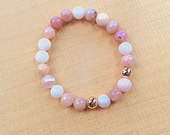 Pink Peruvian opal, rose gold plated 8mm beaded bracelet