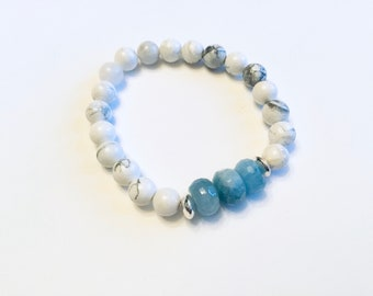 High grade large aquamarine rondelles with 8mm howlite beads, sterling rondelle beaded bracelet