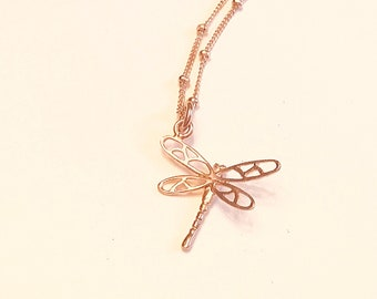 14k Rose gold vermeil over 925 sterling dragonfly pendant necklace, satellite chain, minimalist