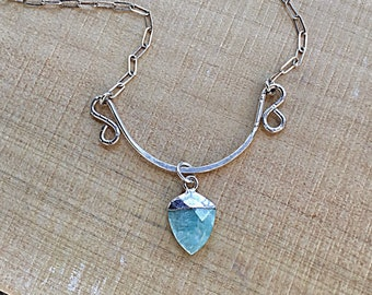 Sterling silver hammered freeform swirly pendant necklace, amazonite charm, on sterling rectangular chain