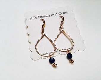 14k Gold fill teardrop hammered earrings, AA kyanite drops, on gold plated ear wires