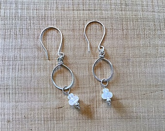AA rainbow moonstone rondelles on sterling teardrop earrings