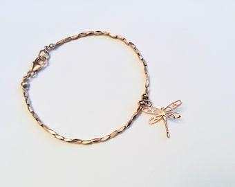 14k Rose gold vermeil over 925 sterling , faceted tiny beaded bracelet, Karen Hill Tribe, dragonfly charm