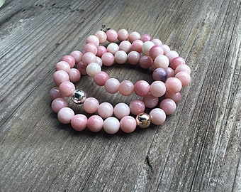Pink Peruvian opal, 8mm beaded bracelet, option to add silver or rose gold feature bead, stacking