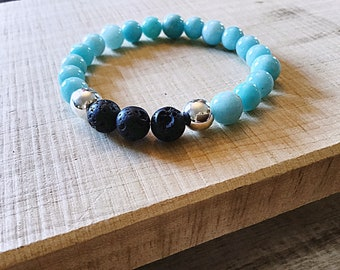 AB grade 8 mm amazonite beaded bracelet with black lava beads and silver plated beads
