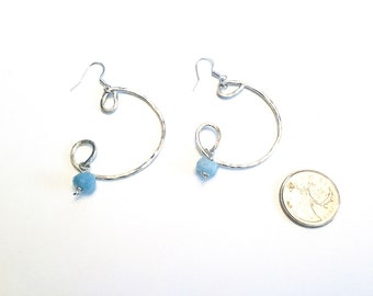 925 sterling large freeform earrings with high grade aquamarine rondelles