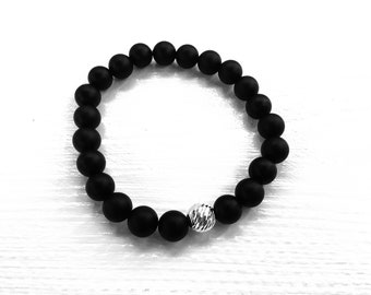 Matte black onyx men's beaded bracelet, 925 sterling diamond cut accent bead