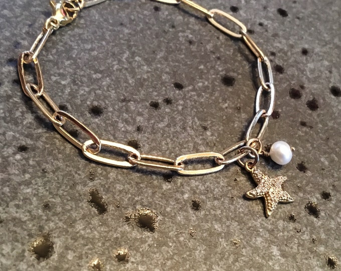 14k gold fill paperclip chain bracelet with pave starfish and pearl charms, simple, elongated